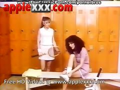 Two vintage girls fuck hard dick in gym changing room tube porn video