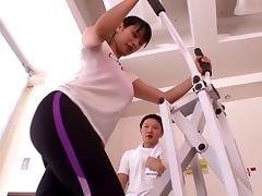 Female gym instructor with big tits is covered in warm cum tube porn video