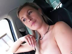 Milf hitchhiker blows him in the car and gets fucked tube porn video