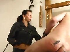 Nice Leather Mistress Caning Man Hard tube porn video