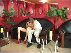 Hungarian hairy redhead mature Piroska fucked by a machine tube porn video