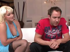 Great facial for blonde mature cougar in black stockings tube porn video