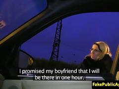 Hitchhiking eurobabe creampied in car tube porn video