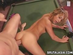 Skinny ass Asian blonde bombshell pool table fucked tube porn video