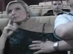 Nikki groped in the cinema tube porn video