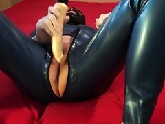 Danielle in catsuit and dildo play tube porn video