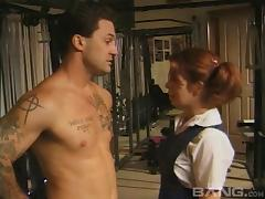 Sexy pigtailed redhead and a horny guy fucking in the gym tube porn video