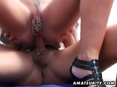 Pierced pussy milf fucked hard on balcony tube porn video