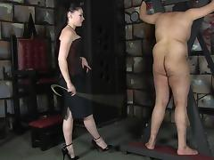 Sexy Mistress caning male slave tube porn video