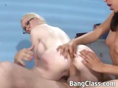 Teacher in a threesome with 2 hot studs tube porn video