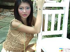 Asian slut sucks on her toy and sits her pussy on it tube porn video