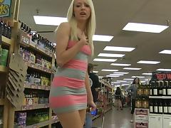 Sweet teen blonde finds a banana at the store to fuck tube porn video