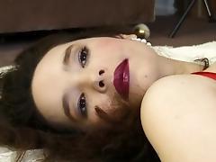 Glamour girl in red lipstick models her smoking hot lingerie tube porn video