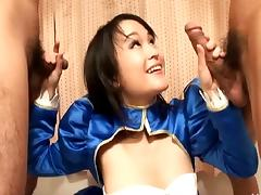 Cute Asian in satin takes on two guys with her hairy cunt tube porn video