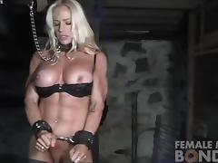 Muscular Female Jill Bound in Dungeon tube porn video