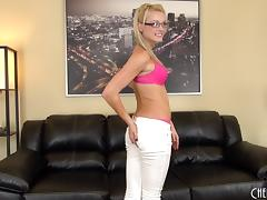 Geeky cutie wears only her glasses while using her vibrator tube porn video