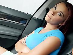 Raven Redmond gives a backseat blowjob tube porn video