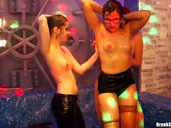 Seductive lesbians in inviting skirts rock the raining dance floor with breathtaking moves tube porn video