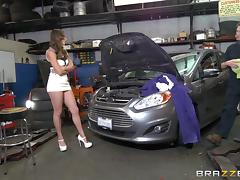 Two horny car mechanics give the chick a nice threesome shagging tube porn video