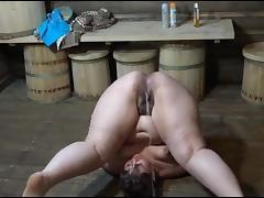 Acrobatic piss tube porn video