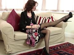 Sexy mature tease in stockings gets out her toy to cum hard tube porn video