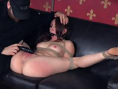 Flexible girl spread and tied up so he can toy her asshole tube porn video