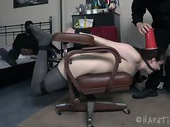 Curly-haired babe is tied up so that the guys can play with her pussy tube porn video
