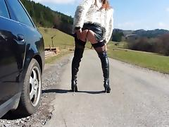 Tranny playing on the street tube porn video
