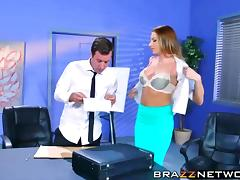 Busty Juelz Ventura sucks the dudes cock off in the office tube porn video