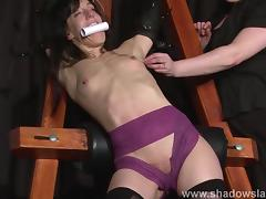 Extreme slave Elise Graves tit tormented and electro punished in hard double domination tube porn video