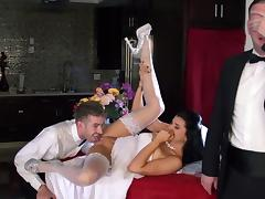 Bride gets dirty with the best man while hubby is watching tube porn video