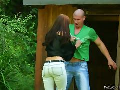 Naughty Mature brunette forcing a stranger to fucking her in several positions outhouse. tube porn video