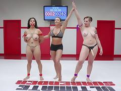 rough lesbian fuck with busty milf after winning wrestling match tube porn video