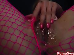 Euro Blonde Puma Swede Rips Fishnets to Cum! tube porn video