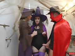 milf cory gets in between her step daughter's sexy halloween party tube porn video