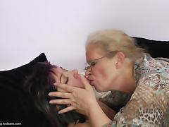 Two raunchy bitches are down for some hot lesbian loving tube porn video