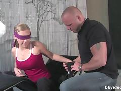 Blindfolded cuties sucking and getting drilled by their bald friends tube porn video