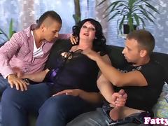 Fat milf cumsprayed on bigboobs in threesome tube porn video