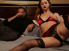 Elegant Karlie Montana plays with her shaved pussy next to the guy tube porn video