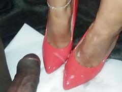 Handjob and cum on heels tube porn video