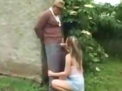 Grandpa takes care of her cute little bush ! tube porn video