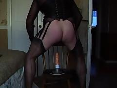 Fucking my dildo in fully fashioned nylons tube porn video