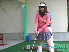 Asian Girl Jerking And Sucking Her Golf Instructor Cock tube porn video