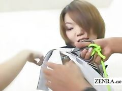 Subtitled bizarre Japan amateurs uniform cutting game tube porn video