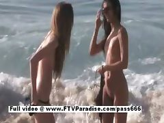 Faye and Larysa funny lesbians flashing on the beach tube porn video