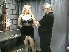 Mature chubby slave nipple clamped and teased tube porn video