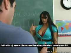 Busty brunette teacher at school going through an earthquake tube porn video