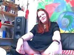 Fat slut having solo fun with her tube porn video