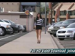 Marletta this leggy sexy brunette is seen walking a busy downtown area with a rather short dress tube porn video