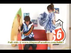 Risa Tsukino stunning asian cheerleader gets pussy licked tube porn video